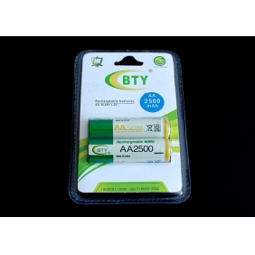 Wholesale BTY AA 2500mAh 1.2V Rechargeable NIMH Battery (2pcs/pack)