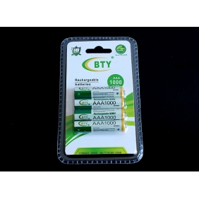 Wholesale BTY AAA 1000mAh 1.2V Rechargeable NIMH Battery (4pcs/pack)