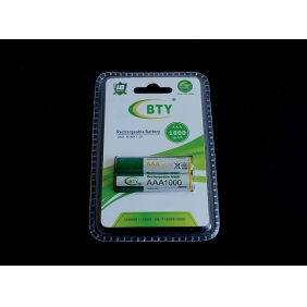 Wholesale BTY AAA 1000mAh 1.2V Rechargeable NIMH Battery (2pcs/pack)