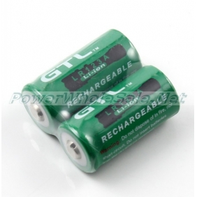 Wholesale GTL LR16340 3.6V 1800mAh Green Unprotected Li-ion Battery(2pcs)