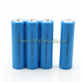 Wholesale Button Top Li-Ion ICR18650 3.7V 2200 mAh rechargeable battery  (2pcs)