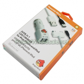 Wholesale Angrybird Dual USB Car Charger with data Cable for Apple Devices