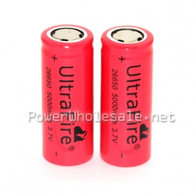 Wholesale UltraFire 26650 5000mA 3.7V Rechargeable Li-ion Battery with flat top Red PVC Super Polymer(2 pcs)