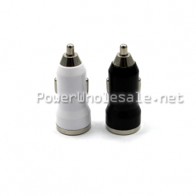 Wholesale Black/white 5V 1A/2.1A Mini Dual USB car charger/USB car charger for iPhone 5/ for Samsung