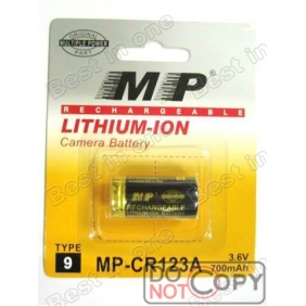 Wholesale MP CR123A 3.6V 700mAh Lithium-ion Camera Batteries(2pcs)
