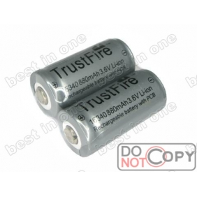 Wholesale TrustFire TR16340 880mAh 3.6V Protected Li-ion battery ( 2 pcs )