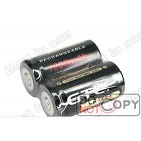 Wholesale GTL LR 123A 3.6V 1200mAh Black Rechargeable Li-ion Battery (2 pcs)
