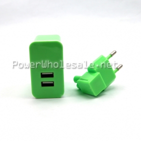 Wholesale 2 USB port green charger for Iphone