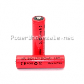 Wholesale IMR red 18650 3.7V 2000mAh battery 7.4WH battery(2PCS)