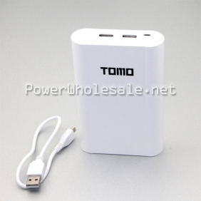 Wholesale TOMO Interlligent 2USB slots 4*18650 battery mobible power bank white power bank