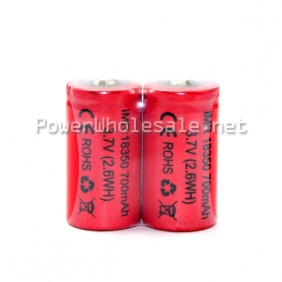Wholesale HOT Red IMR 18350 700mah 3.7V rechargeable battery -- 2.6WH (2pcs)
