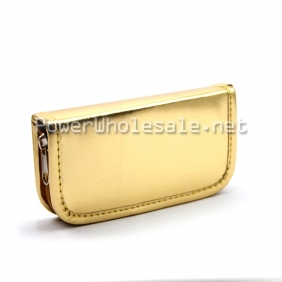 Wholesale High quality ego carrying case bright gold leather zipper case