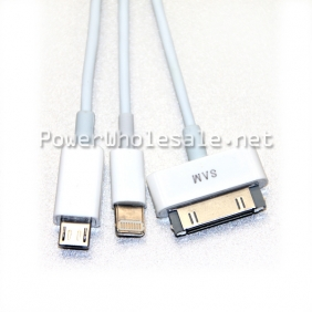 Wholesale White USB cable 3 in 1 universal cable