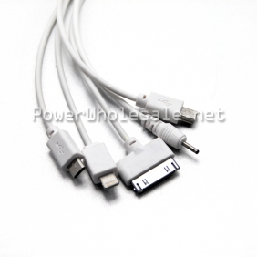 Wholesale high quality white 5 in 1 USB Data Cable