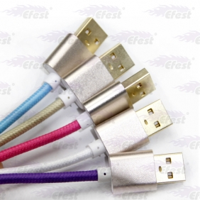 Wholesale Mini weave USB cable, charging cable with metal connector for samsung phone